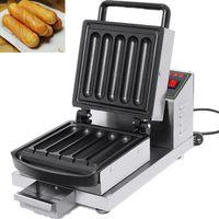 Hotdog Waffle Maker Ticari Yapışmaz Muffin Sıcak Köpek Waffle Makinesi Restoran Pastaneler Snack Bar Ev için 220 V / 110 V Mutfak Aletleri