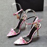 여름 패션 여성 샌들 핑크 레오파드 스트랩 높은 발 뒤꿈치 숙녀 파티 신발 활주로