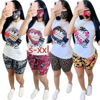 Womens Casual Trainingsanzüge Mode Sommer Womens Sporthosen 2 Stück Set Lippe gedruckt Kurzarm und Hose Outfits Plus Size S-XXL