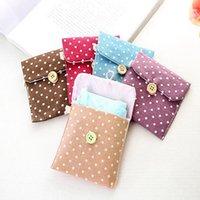 5 couleurs portables brèves sac de coton mignons sacs de rangement polka dot organisateur femelle hygiène hygiène des serviettes sanitaires Porte-monnaie coiffe ZWL335