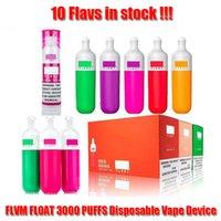 Flvm float 3000 bouffées jetables e cigarette Vape Dispositif 1100mAh Batterie à l'intérieur 10 Flavs Disponible Kit 8 ml Cartouche VS Air Bar Max Lux Bang XXL