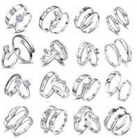 20 par / partia Proste Silver Color Copper Regulowane Diamenty Love Pierścionki Dla Miłośników Para Zaręczyny Ślub Biżuteria Mix Styl Walentynki Gifts Hurt