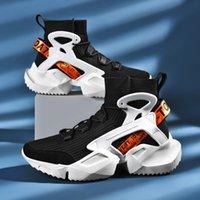 شبكة الأزياء الاحذية الرجال سميكة الوحيد تنفس أحذية رياضية عالية أعلى جورب الأحذية الرياضية أحذية المشي خفيفة الوزن الذكور الأحذية