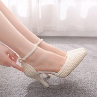 Dress Shoes Pointed Toe White Ivory Pearl Wedding Thin High Heels Pumps Bridal Ankle Strap Sandals Female Party CFHR