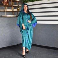 Casual Dresses Fashion Women's Long Muslim Dress With Cap Dubai Turkey Abaya Solid Satin Middle East Female Clothing Oman Arabic Robe