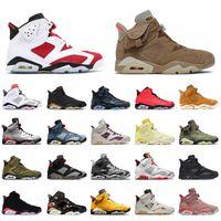 Nike Air Jordan Retro 6 6s VI Travis Scott Jordans British Khaki Jumpman Aj  Cactus Jack Singles Day  مع مربع  أحذية كرة السلة للرجال والنساء      سنيكرز من ترين