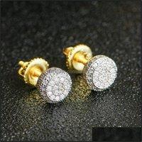 Hoop & Hie Jewelry925 Sterling Mens Hip Hop Jewelry Iced Out Diamond Stud Earrings Style Fashion Earings Gold Sier Women Aessories 3729 Drop