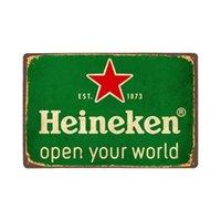 Heineken Beer Metal Plaque Plaque Tin Enseigne Rare Affiche Vintage Vintage rouillé Home Bar Pub Garage Mur Faune Panneau Plaques d'affiche 12x8 pouces Q0723