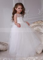 Girl's Dresses A-Line Ivory Lace Tulle V Back Flower Girl Dress Illusion Neck Wedding Party Wear Kid First Communion Christmas Gown