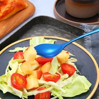 Spoons 1PCS Colorful Fork Spoon Stainless Steel Cutlery Set Unique Rainbow Dessert Afternoon Tea Salad Scoop