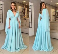 Beautiful Sleeve Designer Deep V neck Evening Bridesmaid Dress for Women Party Chiffon Empire Floor Length Ruched Long Prom Cocktail Homecoming Dresses 2022