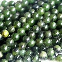 """전체 천연 정품 캐나다 녹색 옥 라운드 느슨한 돌 구슬 3-18mm 쥬얼리 DIY 목걸이 또는 팔찌 15 """"04023"""