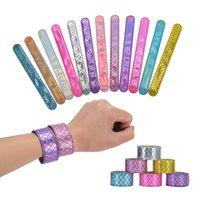 Filles Sirène Sequins Slap Snap Bracelet Partie brillante Bracelet Fashion Enfants Boys Bijoux Coloré Kid Anniversaire Partys cadeau Zyy995