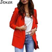Mujeres blazers y chaquetas otoño invierno manga larga bolsillos oficina elegante dama formal blazer más tamaño moda abrigo rojo trajes de mujer