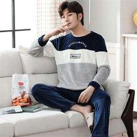 Winter Koreaner Langarm Dicke Warme Flanell-Pyjamas Sets für Männer Korallen Samt Sleepwear Anzug Pyjamas Homewear Home Kleidung 210901