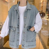 Women's Jackets #9096 Sleeveless Blue Jeans Jacket For Women Big Size Safari Style Turn-down Collar Single Breasted Female Loose Tops