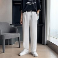 Men's Pants Summer Thin Casual Fashion Solid Color Wide-leg Men Dress Korean Business Society Mens Suit S-3XL