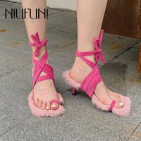 Sandals NIUFUNI Autumn Personality Design Clip Toes Ankle Straps Fur Stiletto Women Shoes Elastic Band Sexy Furry Slip-On