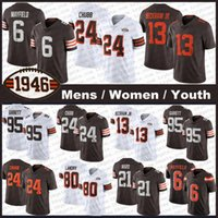 "24 Ник Чубб 13 Odell Beckham JR 6 Baker Mayfield 95 Myles Garrett PE ""Clevelands"" NG Jarvis Landry Gregory Newsome II ""Браун"" E Denzel Ward Peoples-Jones Футбольные майки"