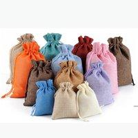 Cómodo algodón de lino regalo envoltura caramelo bolsa de caramelo cordón candys bolsas de almacenamiento Sundries Pequeñas bolsas de cuerda haz a mano HHD8388