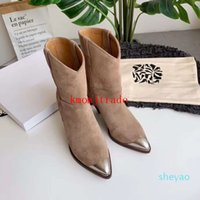 Orijinal Kutusu Isabel Paris Pist Marant Lamsy Deri Ayak Bileği Çizmeler Kadın Tasarımcı Ayakkabı İtalya Buzağı Deri Metal Toe Çizmeler