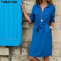 Yukiese herbst winter frauen drei viertel hemd dress mode damen devolve collar casual lose kleider vestidos 210608