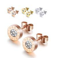 Stainless Steel Roman Numerals Earrings Cubic Zirconia Diamond Stud Ear Rings For Women Men Fashion Jewelry
