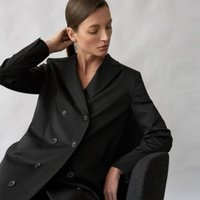 Women's Suits & Blazers Women Business Casual Outfits Office Lady Temperament Thinner Suit Autumn Double Breasted Mid Length Coat