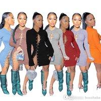 مصمم فساتين النساء الملابس الأزياء 2021 سلسلة مخدد الجوف خارج فستان مثير bodycon لتنورة المرأة ميدي 837