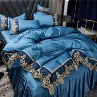 2021 Weiße Bettwäsche Sets Abdeckung Spitze Rand Queen Bett Bettdecken Sets Kissenbezüge Luxus King Size Bettwäsche Sets Home Decoration 738 R2