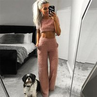 Women Mohair Clothes Sets 2021 Spring Summer Short Sleeve T Shirts Crop Tops Trousers Pants Ladies Fleece Outfits 2pcs Outwear Women's Two P