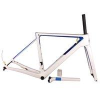 الأزرق الأبيض القرص v3rs الإطار T1100 لامع الكربون الطريق دراجة إطارات دراجة إطارات مع شوكة + seatpost + سماعة + المشبك مفهوم C64