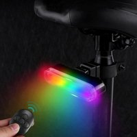 Bike Lights Color Tail Light With Turn Signals Ultra Bright RGB Smart Sensor Wireless Remote Control Rear USB Recharge
