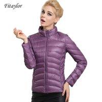 Fitaylor Весна Осень Осень Женщины Короткие Дизайн Куртки Slim Повседневная Ультра Тонкая Утка Утка вниз 90% Куртка inverno Jaqueta Feminina H0830