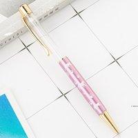 Различный цвет мультфильм diy пустые трубки металлические шариковые ручки студент писать подарок самозависимый плавательный блеск хрустальная ручка hwe5783