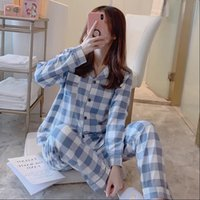 Pajamas Sets with Pants Womens Sleepwears Long Sleeve Turn Down Collar Pocket Pyjama Cute Cartoon Button Top Pijama