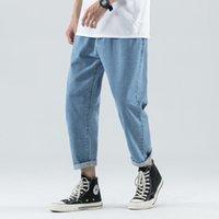 Men's Jeans Loose-Fit Versatile Harem Wide Leg Fashion Man Cool Straight-Cut Korean-style Trend Male Denim Ankle-lenght Pants