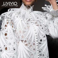 [LIVIVIO] Vintage Hollow Out Lace Ruffled Shirts Female Stand Neck Flare Long Sleeve Irregular Blouse Women Fashion Clothing New1