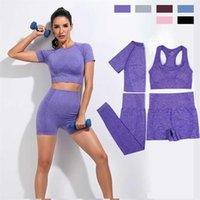 Seamless Women Vital Yoga Set Workout Shirts Sport Pants Bra Gym Clothing Short Crop Top High Waist Running Leggings Sports 211023