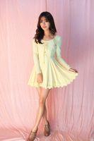 Vestidos casuales princesa dulce vestido de lolita flor de flores de tío hilado de neta de hilado de neto Bowknot sin respaldo Rayas verticales de punto UF78