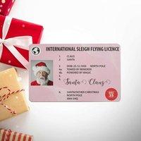 인사말 카드 50pcs 산타 클로스 비행 라이센스 크리스마스 이브 어린이를위한 라이센스 선물 키즈 트리 장식