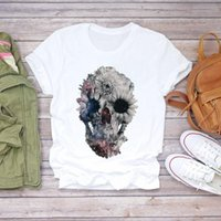 Women's T-Shirt Women 2021 Summer Vogue Skull Butterfly Plant Loose Tshirt Ladies Tee Shirt Tops Clothes Female Graphic Tees