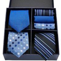 Gift box packing 100% Silk Ties For Men Novelty Hanky Set 3 Styles Mens Tie Formal Red Cravat for Wedding Business Necktie