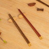 Chopsticks Vacclo 5 Pair Chicken Wing Wood Red Sandalwood Copper Head Tableware El Restaurant Household Wooden