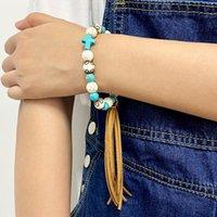 Link, Chain BOHO Turquoise Cross Pave Bead Velvet Fringe Tassel Pendant Elastic Bracelets For Women Ethnic Style Lovely Daily Jewelry