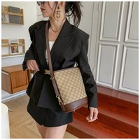 Bucket bag 2021 new fashion lattice texture popular canvas bag