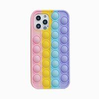 Pop It Push fidget Cases Soft Silicone Rainbow Cell Phone Protective Case Unique 3D Decompression For 12 Mini Pro 11 XR XS MAX X 10 8 7 Plus