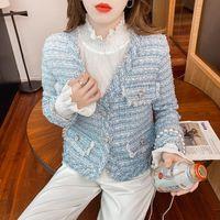 Women's Jackets Runway Korean Fall Winter Pearl Button Tassel Tweed Jacket Elegant Female High Quality Short Coat Top Casacos