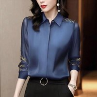 Women's Blouses & Shirts Women Stylish Floral Embroidery Solid Slim Blouse Long Sleeve Turn-down Collar Office Lady Casual 2021 Spring Blusa