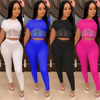 Mesh perspective two-piece set Summer Women Crop Top pencil Pant Suit 2 Piece Club Outfits sport Matching Sets ZHL6021